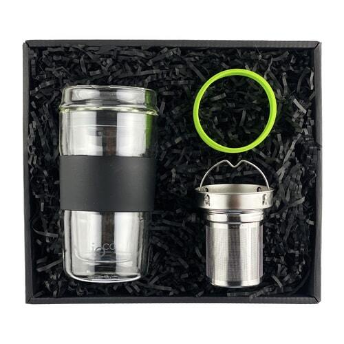 IOco Traveller Gift Pack - 12oz Black Night | Tea Infuser | Fluro Green Seal