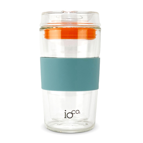 IOco 12oz ALL GLASS Glass Tea & Coffee Traveller - Ocean Blue | Kumquot Orange Seal