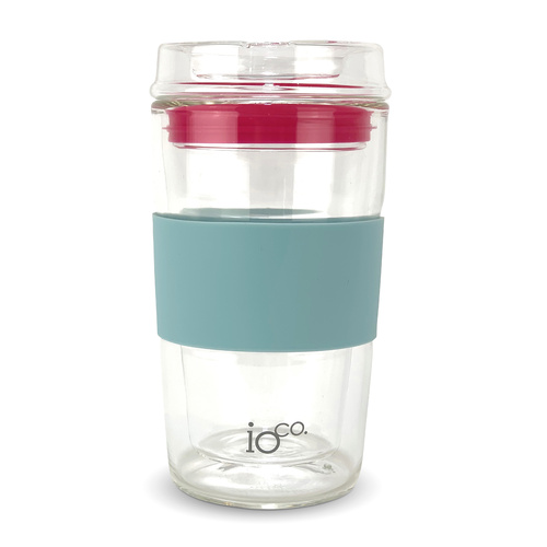 IOco 12oz ALL GLASS Glass Tea & Coffee Traveller - Ocean Blue | Hot Pink Seal