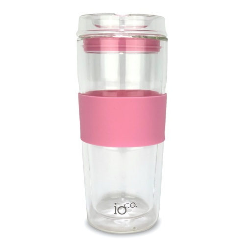 IOco 16oz ALL GLASS Glass Tea & Coffee Traveller - Dusty Rose.
