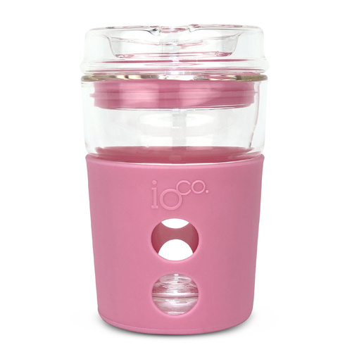IOco 8oz ALL GLASS Coffee Traveller - Dusty Rose