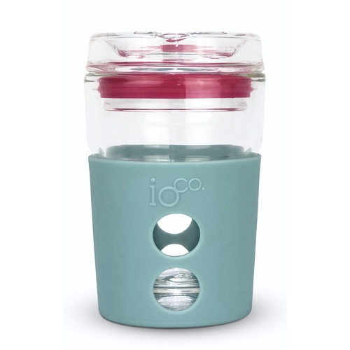 IOco 8oz ALL GLASS Coffee Traveller - Ocean Blue | Hot Pink Seal