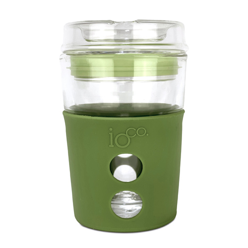 IOco 8oz ALL GLASS Coffee Traveller - Olive Green with Fluro Green Seal