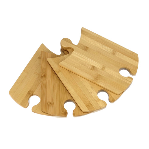 IOco Bamboo Puzzle Plates with WIne Glass holder - Set of 4