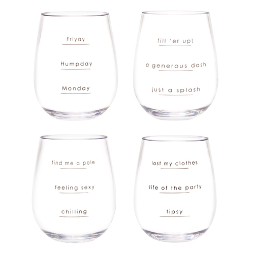 IOco Wine Tumblers (Set of 4) - Unbreakable Tritan - Original sayings